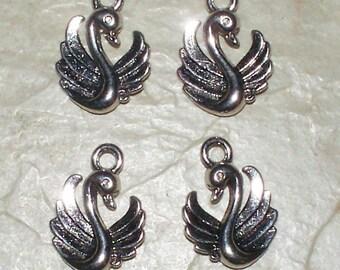 4 Tibetan Silver Swan Charms