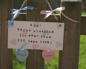 Personalised Twins sleeping sign, plaque, new baby gift