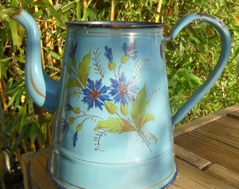 French vintage hand painted enamel coffee pot