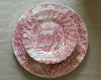 Red transferware set of cake plates and serving platter