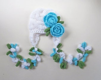 Newborn Baby Girl Hat , Knit Baby Girl Hat , Baby Hat Photo Prop , Knit Baby Hat , Crochet Flower Hat ,Photo Prop