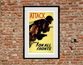 Reprint of the WW2 poster Attack on all Fronts