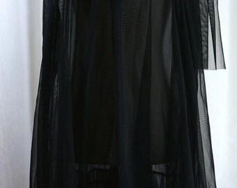 ON SALE Vintage 1970's Lingerie Sheer Black BabyDoll Nightgown
