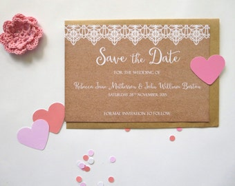 Kraft & Lace Rustic Save The Date card