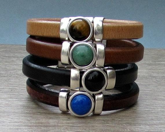 Gemstone Mens Leather Bracelet Mens Silver Bracelet Mens  Gemstone Bracelet customized to your wrist
