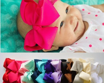 Baby headbands, 5 inch bow, lace headband, big bows, infant headbands, baby headband, baby gift, girl gift, new baby girl gift, easter gift