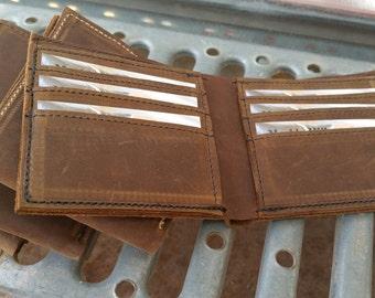 Leather Wallet/ personalized wallet/ billfold/ bi-fold wallet