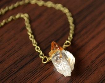 Raw Citrine Necklace, Dark Brass Chain, November Birthstone, Genuine Gemstone, Simple Jewelry