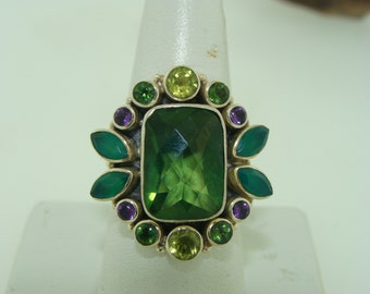 Big and Bold Sterling Silver Green Quartz and Multicolor Stone Ring