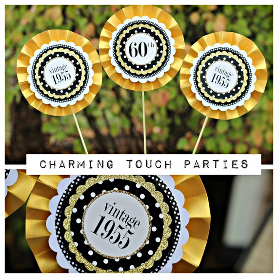 60th birthday party decor 3 piece rosette centerpiece sticks black white gold glitter. Black Bedroom Furniture Sets. Home Design Ideas