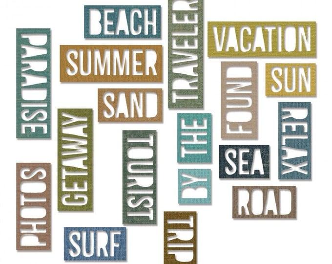 New! Sizzix Tim Holtz Thinlits Die Set 18PK - Vacation Words: Block 661287