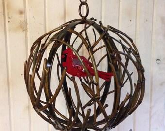 Metal Holiday Globe with Bird