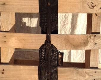 BLACK LADY BELT - crocodile stamped leather belt - wide leather belt - studded leather belt - buckle belt - black belt - thick studdded belt
