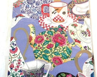 Colorful Tea Party Gift Wrap, Vintage Wrapping Paper, 1 Sheet, Teapots Teacups Wrapping Paper, Bright Colors American Greetings Gift Wrap