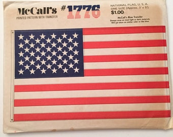 McCall's 1776 Pattern, USA Flag Pattern, Vintage 1971 National 50 Stars and Stripes Pattern, Transfer