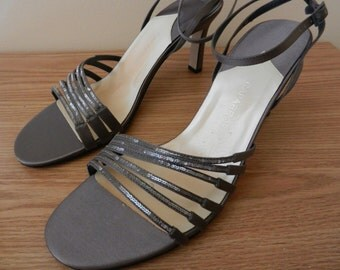 "Dark Cinder Grey Silk,  Ankle Strap Sandals by ""Caparros"", Size 9M, Never Worn"