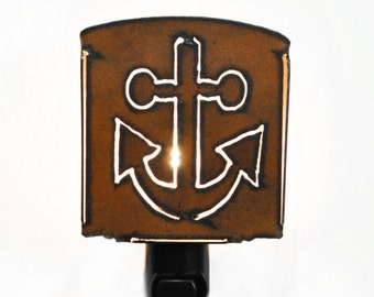 ANCHOR nightlight night light made of Rustic Rusty Rusted Recycled Metal