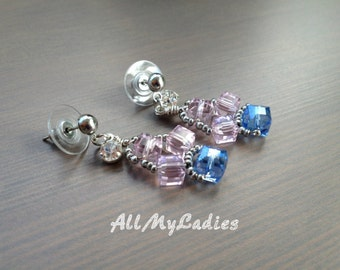 Earrings pierced pendant with beads crystal color silver