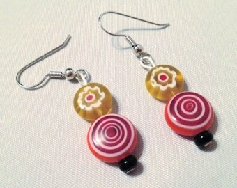Hand-Crafted Artisan Glass Bead Earrings in Red, Orange and Yellow