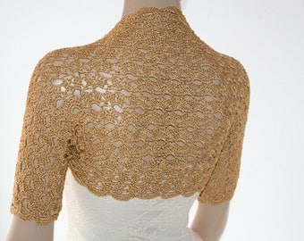 Wedding Bridal Bolero Shrug Lace Crochet Shrug Boleros Gold Silk