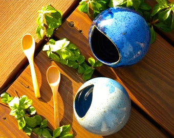 Ceramic Salt Cellar - Dark Blue or Light Blue