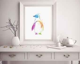 Penguin Print - Watercolor Penguin - Penguin Art - Penguin Watercolor Art - Nursery Decor - Penguin Wall Art - Watercolor Prints