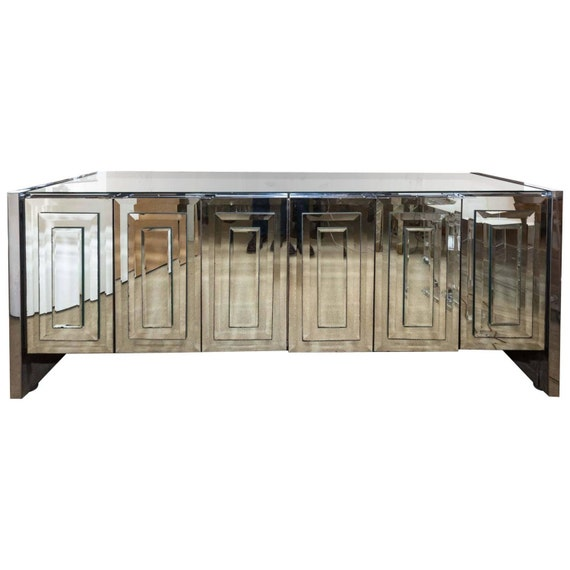 Sold Ello Mirrored Console Mirror Cabinet Credenza By