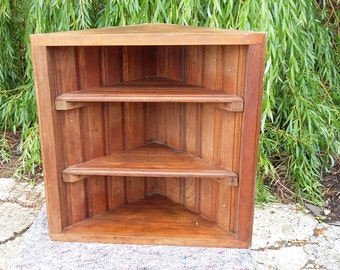 Stripped Solid Wood Corner Shelf