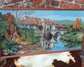 Vintage Tapestry of River and Village France ?