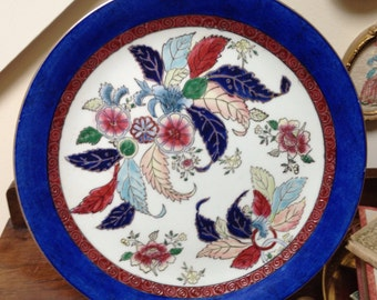 Chinese Tobacco Leaf Mottahedeh Style Plate with Blue Border