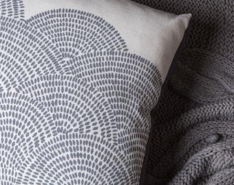 Cloud Grey 40cm x 40cm box cushion - Hand screen printed