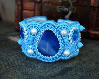Sky Blue Bead Embroidered bracelet Agate Beaded bracelet Seed Bead bracelet Beadwork bracelet Bead Embroidery jewelry Blue Beaded Pearl Cuff
