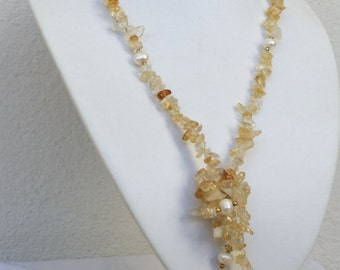 Citrine necklace November birthstone with freshwater pearls