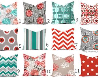 Pillows Outdoor Indoor Custom Cover -  Ocean Spa Turquoise Salmon Orange White Modern Geometric 18x18, 16x16