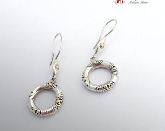 Vintage Round Dangle Earrings Sterling Silver 18 K Gold