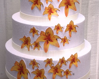 Wedding Cake Toppers, Edible Flower Cake Decorations, Yellow Edible Lilies, Set of 24 DIY Cake Decor, Yellow Edible Cake Decorations