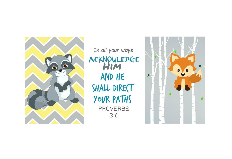 Woodland Baby Bible Verse Art Animal Prints Raccoon Fox Boys