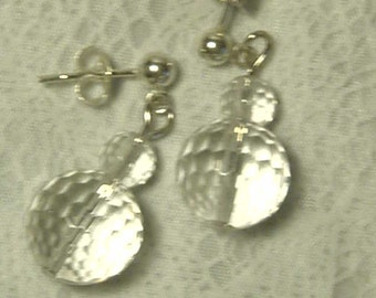 "Cynthia Lynn ""CRYSTAL CLEAR"" Sterling Silver Multi-Faceted Quartz Crystal April Birthstone Post Earrings"