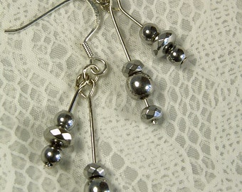 "Cynthia Lynn ""METRO METALLICS"" Silver Hematite Bead Drop Earrings"