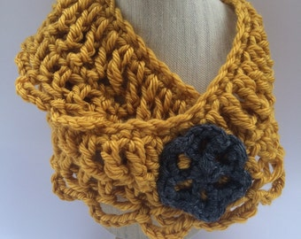 LaLove Designs Crochet Scalloped Scarf with Flower