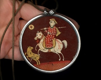 Antique PERSIAN Pendant Necklace Miniature Painting STERLING Silver Frame HUGE 32 Grams