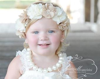 Beige Ivory Flower Crown Headband/Flower Crown Headband/Flower Headband Wedding/Baby Girl Headband/Girl Headband Baby/Toddler Headband
