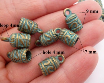 4 mm Brass Aged Patina End Cap_R011457038B/G_Greek Aged Ends of 4 mm Pack 30 pcs
