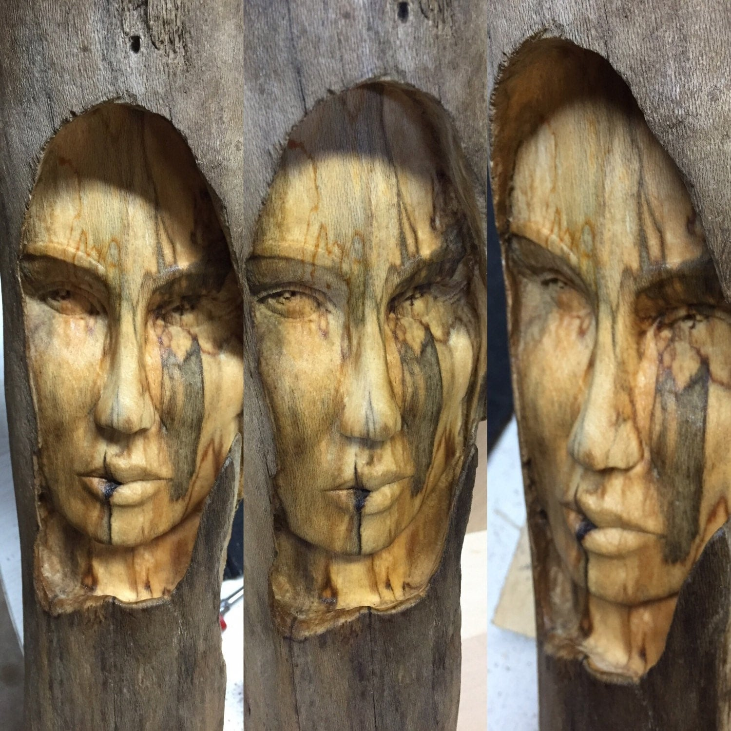 Man Cave Gift Ideas Female Wood Spirit Carving Wood Sculpture Hand Carved Wood
