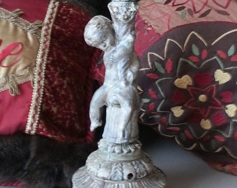 Vintage Metal Cherub Lamp with Harp and Finial without Shade