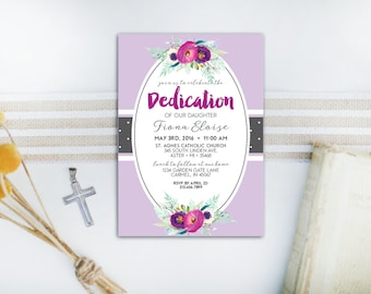 INSTANT DOWNLOAD dedication invitation / baby dedication invitation / floral dedication invitation / girls dedication invitation
