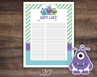 Instant Download Little Monsters Baby Shower Gift Registry, Printable Green Purple Teal Chevron Monster Gift List, Gift Tracking Sheet 82A