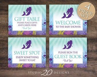instant download mermaid baby shower signs 8x10 gift table aqua purple under the sea