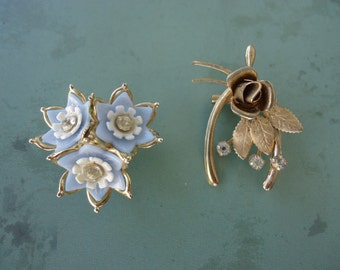 Wishbone and Flower Brooches