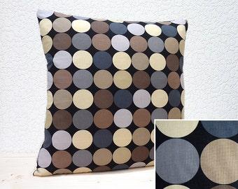 "Handmade 18""x18"" Cotton Cushion Pillow Cover in Black/Brown/Fawn/Grey Disco Dots Modern Bold Design Print"